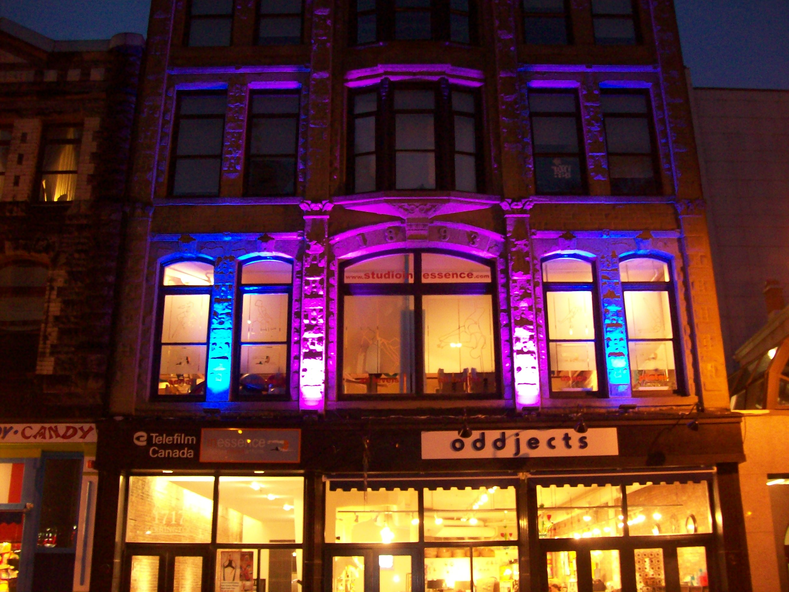 Ledelco custom led lights and lighting in halifax nova scotia 1717 purple 2 heritage building gets noticed mozeypictures Images